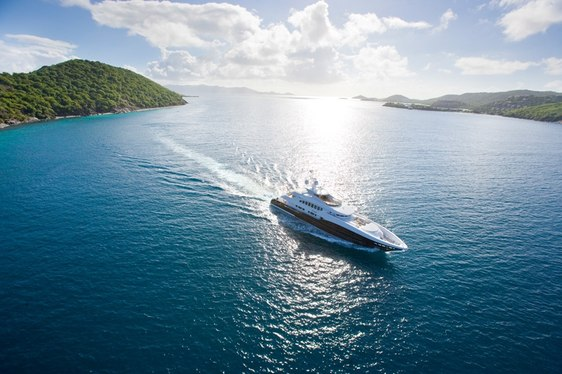 Aerial view of charter yacht 4YOU