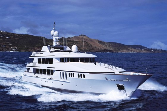 Superyacht Claire cruising the waters of the Bahamas on charter