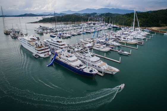 aerial shot of the Thailand Yacht Show in the Ao Po Grand Marina, Phuket
