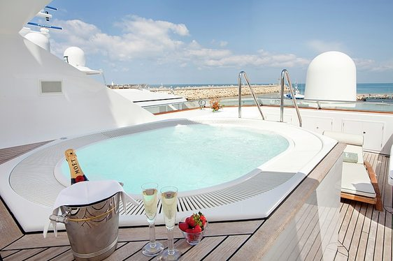 Sundeck Jacuzzi on board charter yacht Eclipse