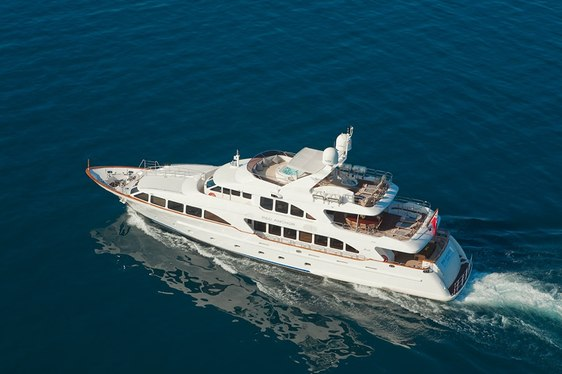 Aerial view of motor yacht Red Anchor cruising