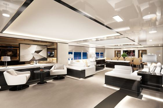 A rendering of the main salon and formal dining area on board superyacht O'MATHILDE