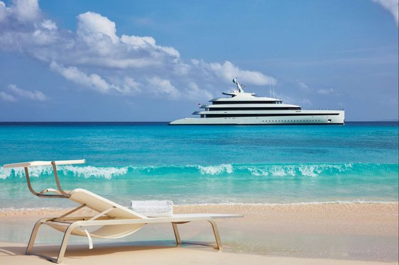 superyacht Savannah anchored on a luxury yacht charter in the Caribbean