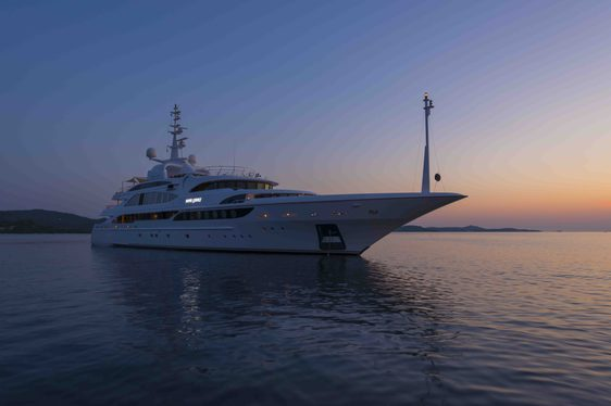 Superyacht Mine Games Cruising on Charter at sunset
