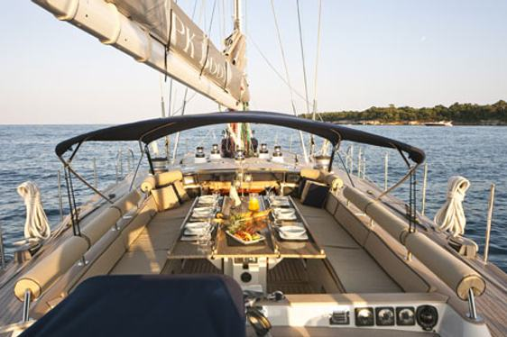 Al fresco dining srea on board charter yacht BK Boo II