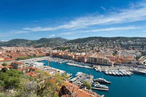 Aerial shot of the harbour of Nice with superyachts docked