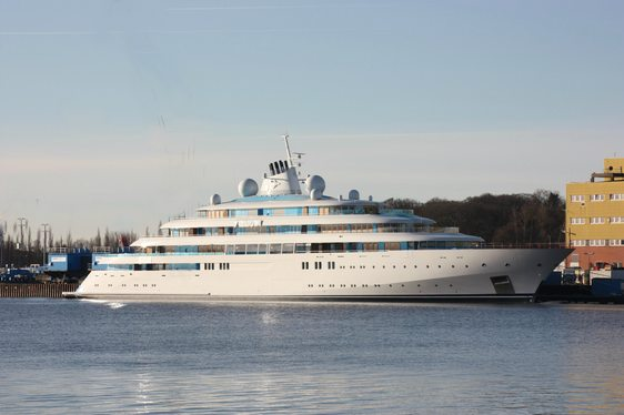 Superyacht Golden Odyssey at anchor preparing for delivery