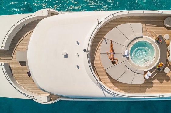 Luxury yacht Big Sky aerial shot