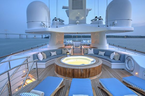 teak loungers and Jacuzzi on the sundeck of luxury yacht CYNTHIA