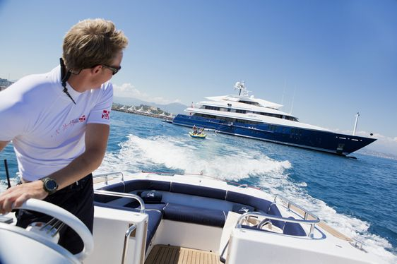 Looking back at charter yacht Sarah from her tender