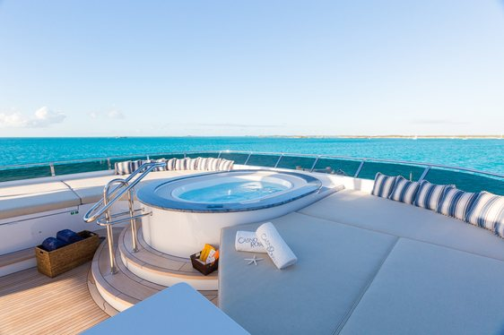 Jacuzzi on superyacht Casino Royale  with Caribbean Sea in backgroud