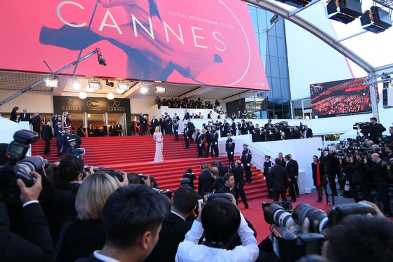 Uma Thurman on the steps on the Palais des Festivals at the Cannes Film Festival