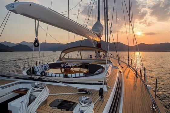 Deck of Luxury Yacht Savarona at sunset when cruising on charter in Greece