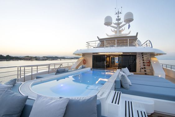 swimming pool on flybridge aft of superyacht O'PTASIA