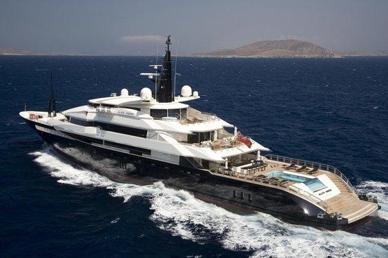 Superyacht Alfra Nero cruising the Mediterranean on charter