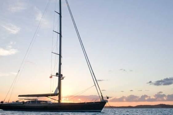 Sailing yacht MOONBIRD at anchor