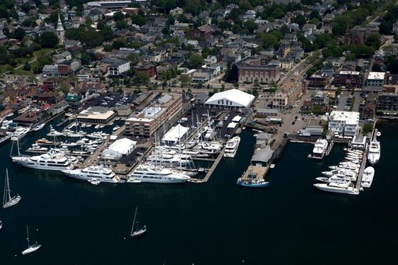 Yachts anchored in Newport Harbour for the 2013 Newport Charter Show