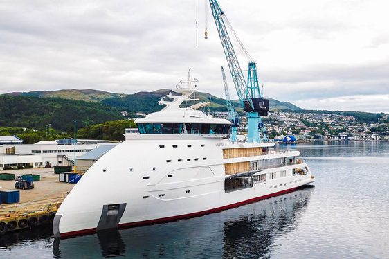 expedition yacht Olivia O at Ulstein Verft's facilities in Norway