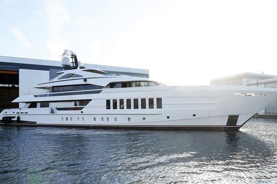 Heesen motor yacht VIVA at shipyard preparing to undergo sea trials