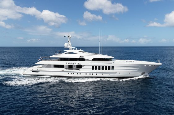superyacht LAURENTIA underway on a luxury yacht charter in the Mediterranean