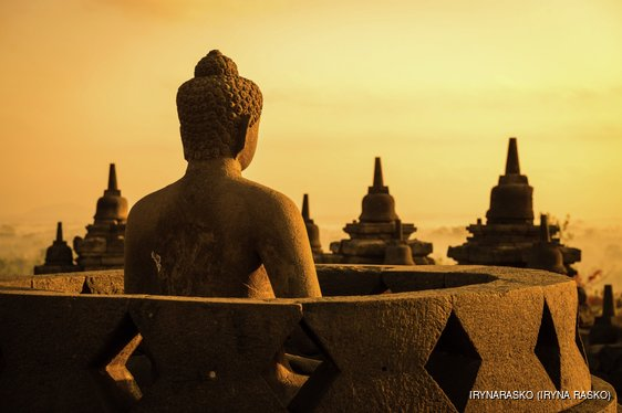 Buddha in Borobudur Temple at sunrise