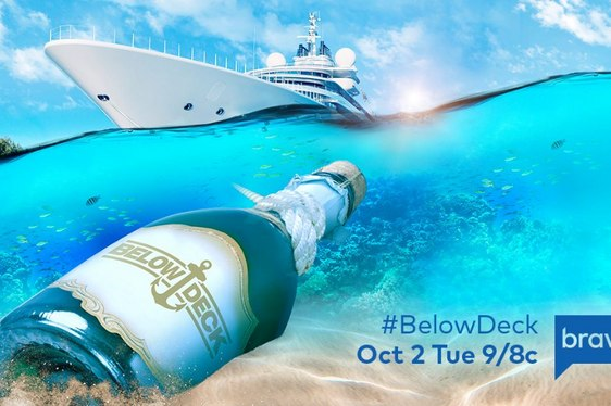 Below Deck poster with superyacht My Seanna anchored in Tahiti
