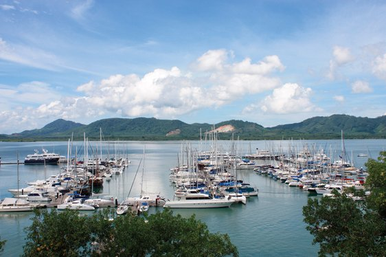 Superyachts at anchor in Thailand