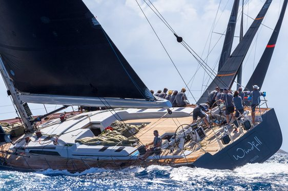 charter yacht WINDFALL sails to victory at Les Voiles de Saint Barth 2018