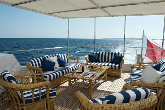 On deck seating aboard charter yacht Daniella