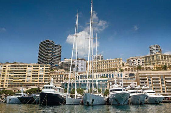 Superyachts in Monaco Harbour ready for The Rendezvous