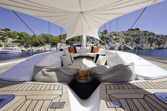 Deck seating onboard charter yacht Destination