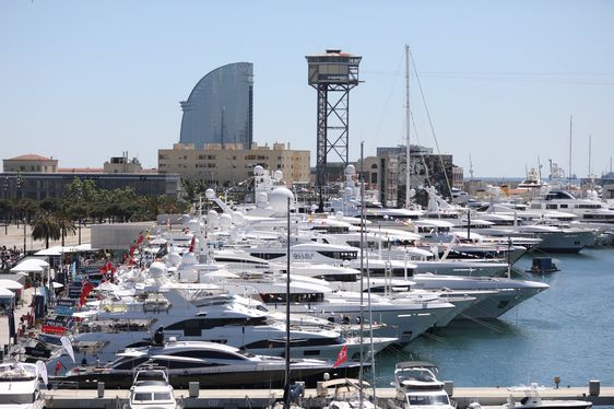 luxury yachts lined up in OneOcean Port Vell for The Superyacht Show 2018