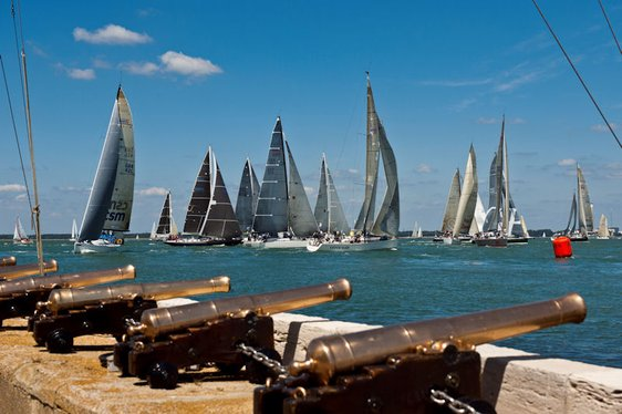 Sailing yachts in the Isle of Wight harbour