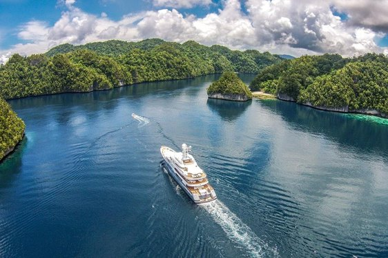 Lurssen Superyacht TV cruising in Palau Islands on Charter