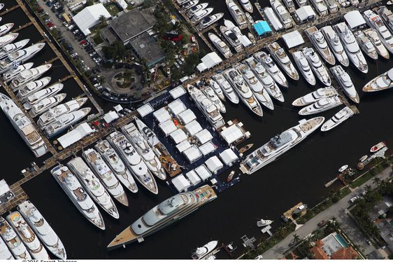 superyachts lined up at FLIBS 2018 in Florida