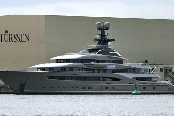 Superyacht 'Kismet' outside Lurssen Shipyard in Germany
