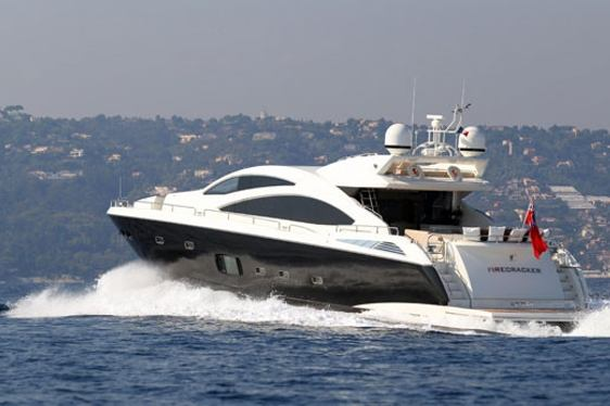 motor yacht FIRECRACKER cruising on charter in South of France