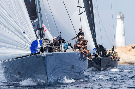 yachts go head to head at the Loro Piana Superyacht Regatta in La Maddalena archipelago, Sardinia