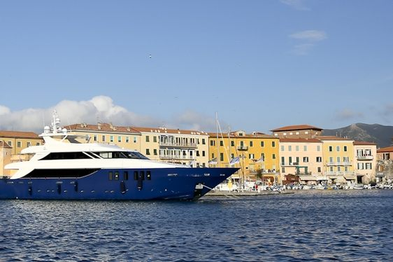 luxury yacht OURANOS in harbour on a charter in Croatia