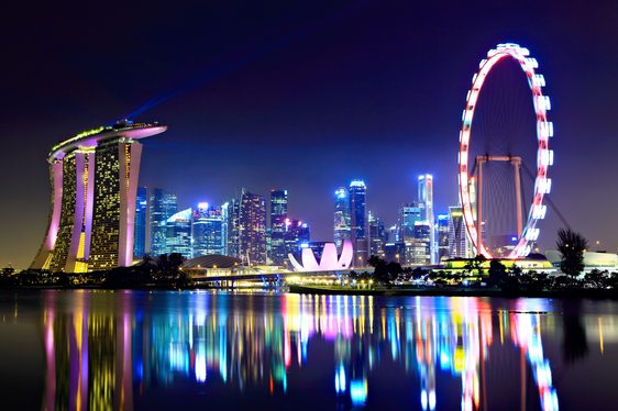 Looking over at Singapore at night from the water