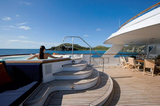 On deck Jacuzzi on board charter yacht Audacia