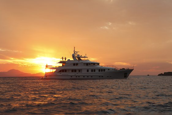 superyacht Metsuyan IV anchored on a yacht charter in Croatia at sunset