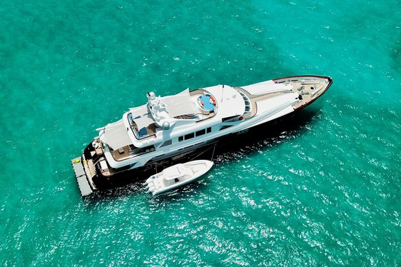 motor yacht M3 anchors in the Bahamas on a luxury charter vacation