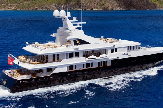 motor yacht HELIOS underway during a luxury yacht charter in the Mediterranean