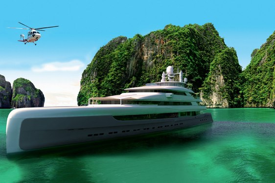 motor yacht Illusion Plus anchors as helicopter prepares to land on her helipad
