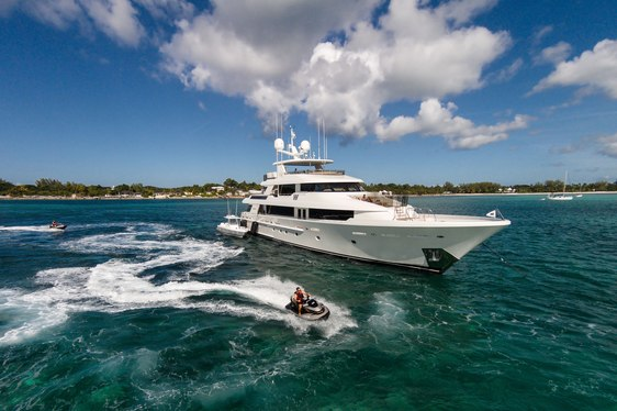 Luxury yacht W in the waters of the Bahamas