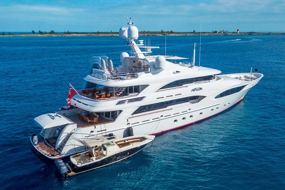 motor yacht AVALON anchored on a luxury yacht charter alongside tender