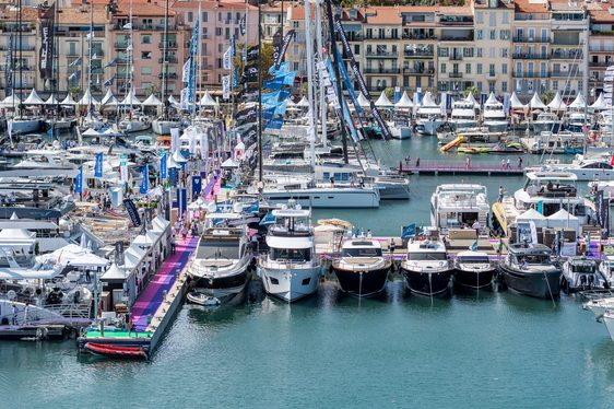 yachts lined up in the Vieux Port in Cannes for the Cannes Yachting Festival