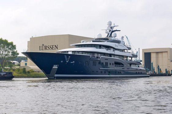 Brand new motor yacht Solandge outside Lurssen shipyard in Germany
