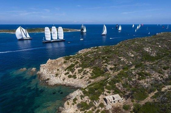 The Maltese Falcon charter yacht in full pursuit at Perini Navi Cup 2013 regatta